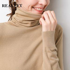 Realeft Novo 2020 Outono Inverno De Tricô Turtleneck Pullovers Slim Multi Color Bottoming Manga Longa Minimalism Sweater