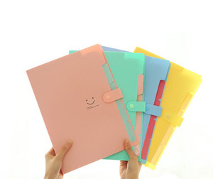 New 10 Colors A4 Paper Expanding File Folder Pockets Accordion Document Organizer Smile Waterproof File Folder 5 Layers Document Bag