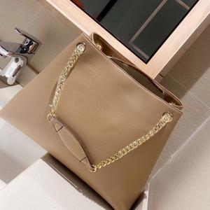 Donne Shopping Bag Genuine Leather Tote della borsa del Borse della catena di modo della decorazione della nappa del grano del litchi Pianura grande capacità pacchetto Zipper
