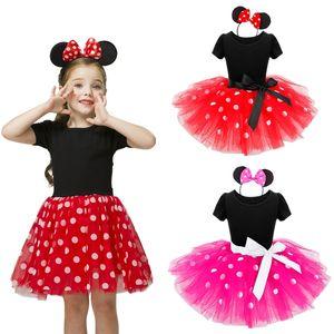 Girls Costume Mini Tutu Dress Ballet Princess Dresses Polka Dot Birthday Outfits Headband Kids Summer Clothes Vestidos