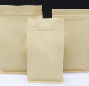 Carta Kraft Borse di tenuta a otto bordo Blocco zip Brown Brown Alluminio Film Addensare Confezione da caffè GRANELLO GRANELLO BACCHETTO BAGNO PER DHL GRATUITO