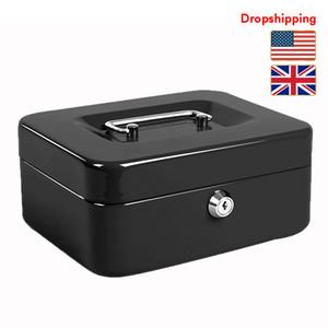 الأسهم في الولايات المتحدة النقدية UK صندوق الفولاذ المقاوم للصدأ الآمن الصغيرة قفل صندوق مع مفتاح درج النقدية الأسود
