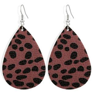 Tropfen-Bolzen-Ohrringe Leopard-Ohrringe Teardrop Leder Ohrring einfache Weinlese-Ohrring-Schmucksachen für Frauen-Mädchen-Anhänger Geschenk GGE1723