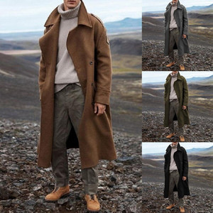 OLOEY New Khaki Windbreaker Classic Autumn and Winter Long Men's Casual Loose Over-the-knee Men's Coat Streetwear Jacket S-2XL