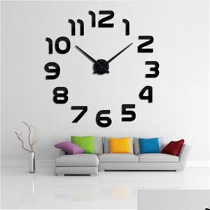 New Design Clock Watch Wall Clocks Horloge 3d Diy Acrylic Mirror Stickers Home Decoration Living Room Quart jllQSz yummy_shop
