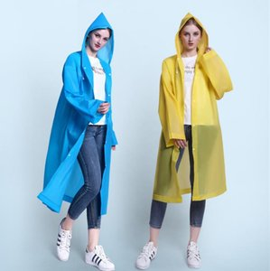 Fashion Non disposable Thickening Adult Raincoat Transparent walking Outdoor Travel EVA Fashion Light Raincoat in Stock