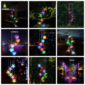 LED Solar Wind Chimes Crystal Ball Hummingbird Wind Chime Light Color Changing Waterproof Hanging Solar Light For Home Garden