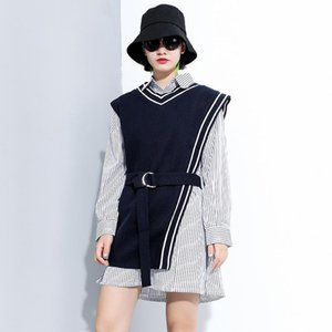 Fall 2020 Women Long Sleeve Stripe Shirt Two Piece Set Trendy Plus Size Female Streetwear Fashion Blouse and Vest Coat Outfit
