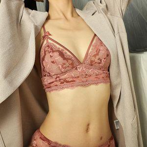 Wriufred Underwear Ultra-fino mulheres ata Triângulo Cup Brassiere Sexy Ladies Bra Set Plus Size lingerie conjuntos Bow Bras Calcinhas