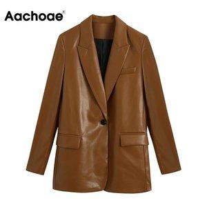 Aachoae Женщины Мода PU искусственной кожи Blazer с длинным рукавом одной кнопки Браун куртка Vintage Зубчатый воротник пальто Верхняя одежда