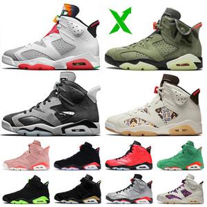 Nike Air Jordan 6 Retro 6 Travis Scott 6s 2020 Stock x 증권 Jumpman 여성 남성 농구 신발 기가 토끼 6 트래비스 스콧 새틴 X요르단레트로 테크 크롬 케 (54) 트레이너 스니커즈