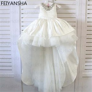 Flower Girls Dresses Bateau Neck Beaded Sash Lace Half Sleeves Pageant Gowns Long Floor Tulle Communion Dress