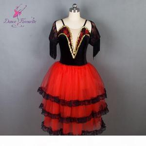 Dance Favourite New Ballet Tutu Black Velvet Bodice with Red Tulle Ballet Costume Women Spanish Tutu