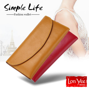 Multifunction Leather Long Wallet Women Solid Color Simply Large Capacity Phone Pocket Wallets Card Holders Leather Coin Purse VT1592