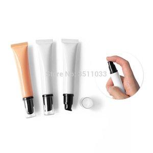 10г 15г 20г белой Пустая Элегантная косметический крем многоразовой трубка Оранжевый PE Пластиковый шланг Мягкий с безвоздушным насосом Black Clear