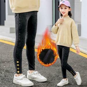 2020 Winter Kids Jeans Velvet Warm Teenage Girl Solid Denim Pants Fashion Botton Legging Autumn Casual Children Trouser 11 12 14 C1031