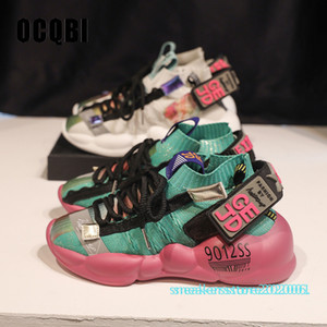 2019 패션 높은 뒤꿈치 웨지 플랫폼 스니커즈 여성 크로스 묶여 혼합 색상 PU 가죽 신발 편안한 캐주얼 여성 신발