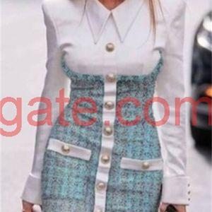 2020 새로운 디자인 유럽 패션 여성의 가짜 2 조각 칼라 셔츠를 켜고 트위드 모직 싱글 브레스트 펜슬 드레스