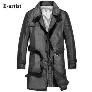 Мужские траншеи Пальто E-Artist Длинное пальто с поясом Мужской куртки ветровка Верхняя одежда Overcoat Plus Размер 5XL F081