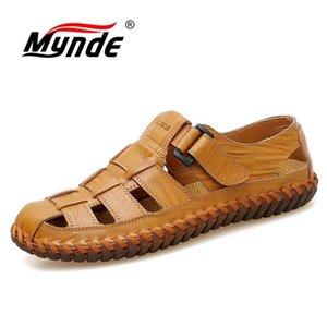 MyNDE HOMBRES Sandalias de cuero de vaca al aire libre 2019 verano Hombre Hecho a mano zapatos Hombres transpirables Zapatos casuales Calzado Sandalias para caminar Y200702