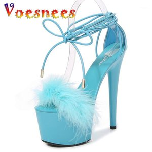 Voesnees Pelz High Heel Platform Sandalen Damen Schuhe 17cm Sexy Offene TOE Hochzeitskleid Schuhe Sommer Sandalen Weibliche Gladiator Shoe1
