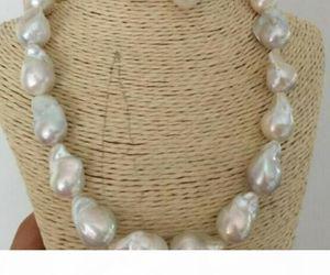 Fine pearls chain Stunning Rare 20-25mm south sea white boque pearl necklace