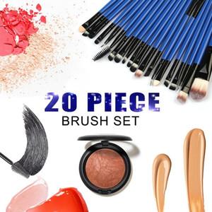 20pcs Profession Plastic Handle Nylon Hair Makeup Brushes Set Foundation Powder Eyeshadow Blush Makeup Brush Set