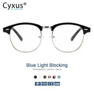 Cyxus 안티 블루 라이트 컴퓨터 안경 남성 여성 안경 8056 1006 안티 눈의 피로 UV 세미 무테 Browline 프레임