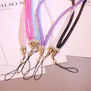 Corda universal do telefone móvel que pendura o cordão de cristal de cristal do laço no pescoço com corda do suporte do crachá do id do clasp do garra
