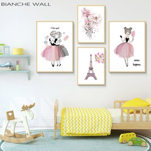 Watercolor Kawaii Cartoon Flower Girl Posters and Prints Wall Art Canvas Painting Nordic Style Picture for Living Room Home Deco
