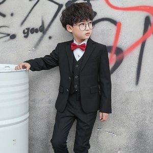 4pcs Kids Boys Trajes Black Blazers Formal Boda TUXEDOS Escuela Adolescente Partido Partido Fashion Flower Boy Blazer Traje para Boy1