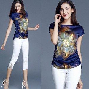Chiffon Blusas para as 2.020 Verão Plus Size M-5XL senhora casual tops de manga curta Moda Tops Femme Blusa preta azul camiseta Y200402 j5zq #