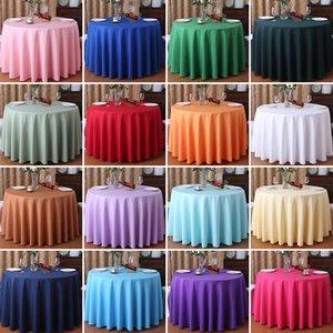 YRYIE 1 ADET Katı Renk Mor Şarap Kırmızı Yıkanabilir Düğün Masa Örtüsü Yuvarlak Fable Parti Ziyafet Yemek Masası Kapak Dekor için 201123
