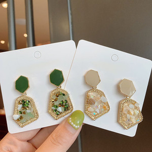 S925 silver Morandi French light luxury natural stone earrings palace retro emerald earrings earrings jewelry