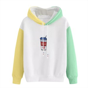 Womens Hoodie Coffee Cup Embroidery Sweatshirt Autumn Long Sleeve Color Block Drawstring Hoody Girls Pullover L