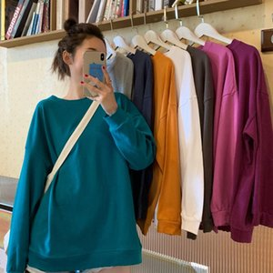 Long Sleeve Sweatshirts New Fashion Korean Women's Clothing Casual Fall Solid O-neck Hoodies Loose Ins Hipster Pullover Female