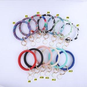 Glands Bracelet en cuir Keychain Porte-clés Porte personnalisé émail multicolore léopard Bangle Keychain Party cadeau HWB2048