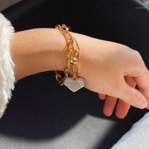 Mode Persönlichkeit Pfirsich Herz Armbänder Frauen Übertreibung Kette Handgemachte Herz Armband Hand Schmuck1