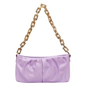 HBP Kreative Frauen Falten Einkaufstasche Klassische Textur Zarte Design Reine Farbe PU Schulter Tragbare Mode Handtasche Geldbörsen Purple