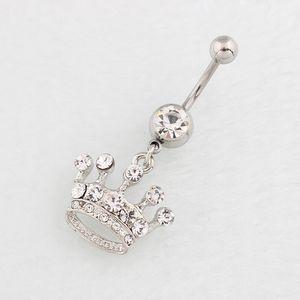 السرة الدائري الأبيض الماس ولي سري مسمار المضادة للحساسية الفولاذ المقاوم للصدأ الجسم ثقب الأزياء والمجوهرات مصنع المبيعات المباشرة