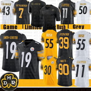 Minkah Fitzpatrick Smith-Schuster Juju T.J. Watt Devin Bush Jersey Chase Claypool Conner Ben Roethlisberger Pittsburgh