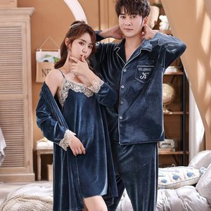 Women Velvet Velour Sexy Nightwear Chinese Female Autumn Winter Robe Gown Long Sleeve Couple Lovers Pajamas