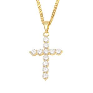 AAA Zircon Pendentif croix Collier Hommes Hip Hop Couleur Or Argent Cuivre Croix Colliers Bijoux Fashion