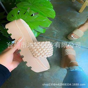 eYur Karinluna 2020crystals Heels High wedges Summer leisure Sandal Women Shoes WomanMules Slippers fashion