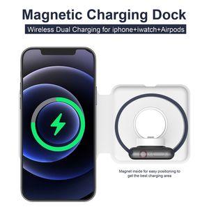 Carregador sem fio magnético dobrável para o telefone 12 2in1 carregador do duo para o telefone 12 pro 15w recarregador de carregamento rápido