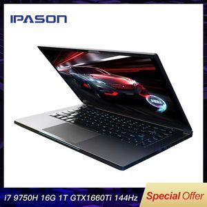 IPASON GANING COMPUTER 15.6 بوصة Intel Core رقيقة جدا الألعاب الألعاب الكمبيوتر المحمول / 9750h 16 جرام رام 1T SSD GTX1660TI 144HZ عالية السعر 1