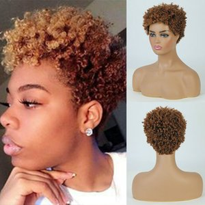 Short Afro Kinky Curly Yellow Hair Wigs for Black African American Women