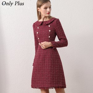 Nur plus ol Wool Winterkleid für Frauen Peter Pan Kragen Tweed Kleid Vintage Wolle Plaid Weinkleider Warme Elegante Button LJ201112