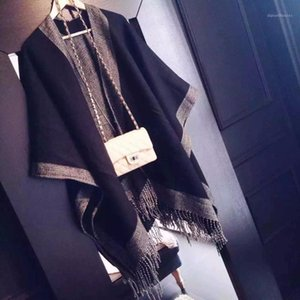 Großhandel vanled mode winter frauen ponchos and capes weibliche gestrickte decke schal neue shawn wrap poncho cardigans pullover mantel 1