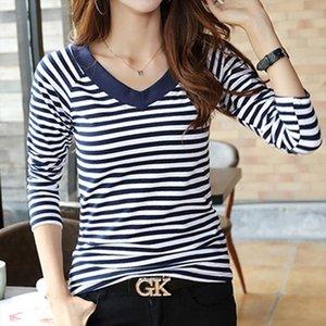 T Shirt Women 2020 Four Seasons New Top Shirts Long Sleeve Tshirt Striped Female T shirt Womens Tops Tee Shirt Fashion Femme
